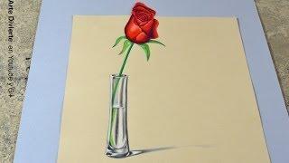 ¡El SECRETO para hacer un dibujo en 3D! Cómo dibujar una rosa anamórfica