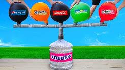 Experiment: The Balloons of Coca Cola & Fanta & Sprite & Pepsi & Mirinda VS Mentos