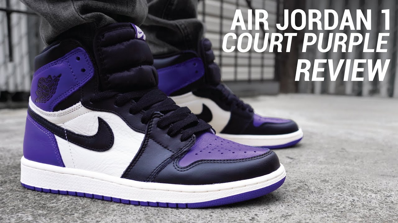 pluma frecuentemente Arte  Air Jordan 1 Court Purple Review & On Feet - YouTube