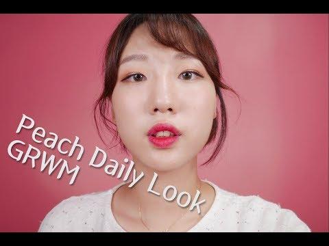 [English ASMR] Korean Peach🍑 daily make-up | GRWM | Ear-to-ear whispering