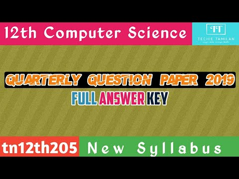 12th Computer Science Quarterly Question Paper Full Answer Key (English Medium) | SVB | 2019 To 2020