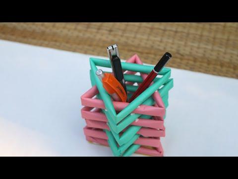 DIY Paper Pencil Holder: How to Make Origami Paper Pen Holder