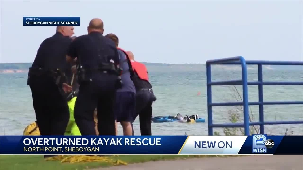 Video of overturned kayak rescue on choppy waters of Lake Michigan