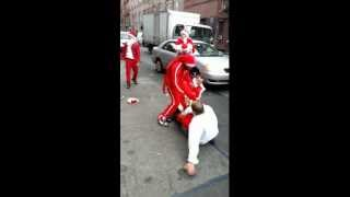12 Days of Christmas. 12 Drunk Santas Fighting. Santacon NYC 2012