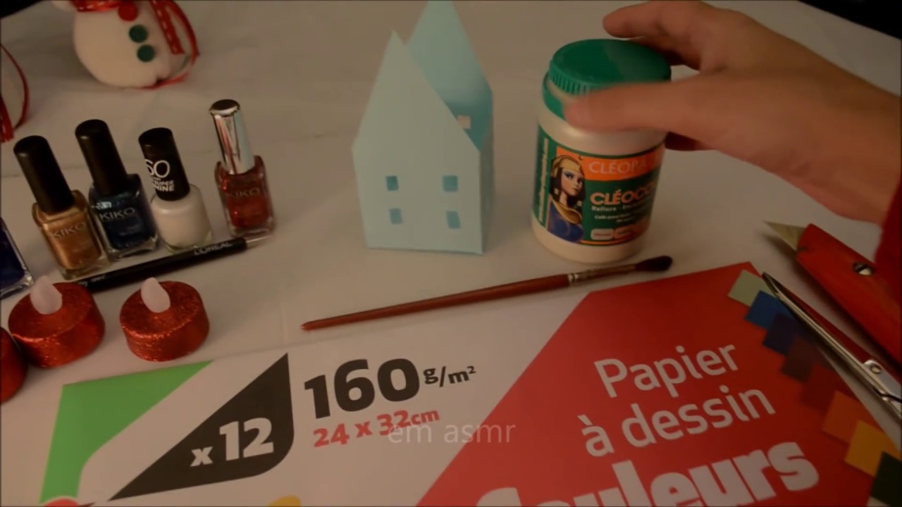 asmr christmas diy maison de no l photophore christmas paper houses fran ais french youtube. Black Bedroom Furniture Sets. Home Design Ideas
