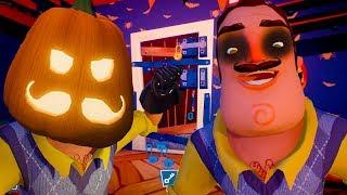 СЕКРЕТ ПРИВЕТ СОСЕД ! Хэллоуин у Hello Neighbor с Кидом и тыквами в доме странного соседа