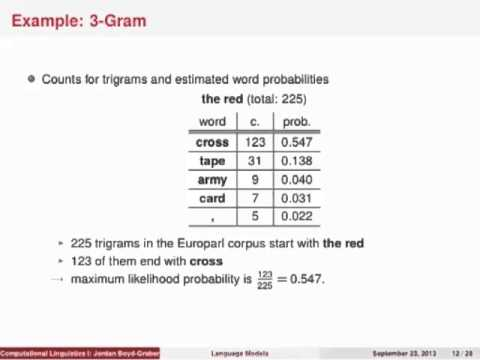 Computational Linguistics I: Language Models