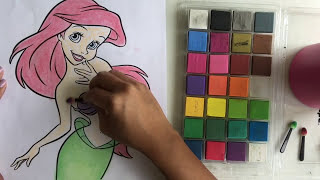 Chalk Coloring Book : DIY Color The Little Mermaid-Ariel with Chalk | Speed Coloring