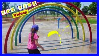 PLAYING AT SPLASH PAD - FUN KIDS NURSERY RHYME SONGS - LITTLE GIRL ANGELMAN SYNDROME WATER PARK FUN