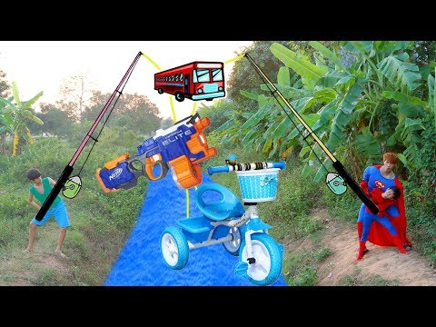 Thumbnail: SuperHero Kids Go To School Learn Colors with Pickup Truck Toys Wheel On The Bus Song Nursery Rhymes