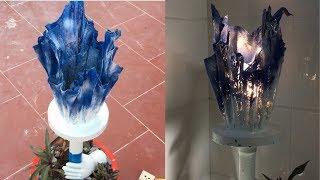 Craft Ideas Cement Decorative Lights Combine Plant Pots   Beautiful Design for Home and Garden Decor