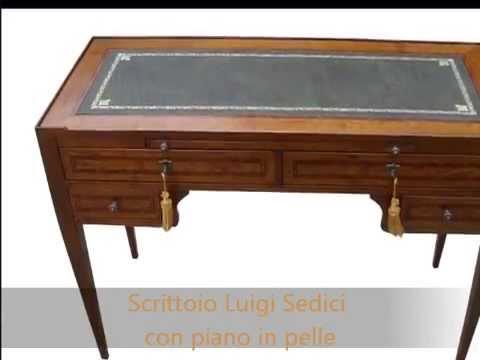 Scrittoio scrivania classica in stile antiquariato con for Piano scrivania