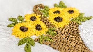 Bordados à mão – Projetos para roupa do bebê – Cesta de flor