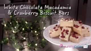 White Chocolate Macadamia & Cranberry Biscuit Bars