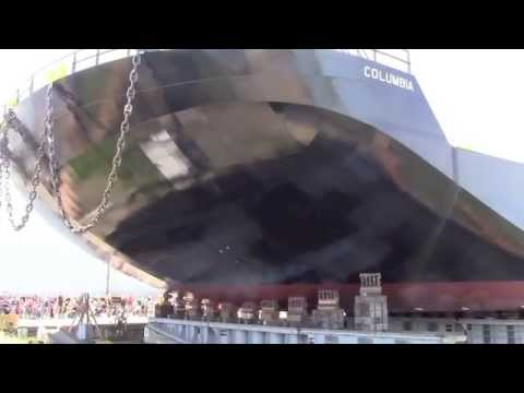 The Columbia, a 362'x105'x23' heavy deck barge, launches in Portland, Oregon