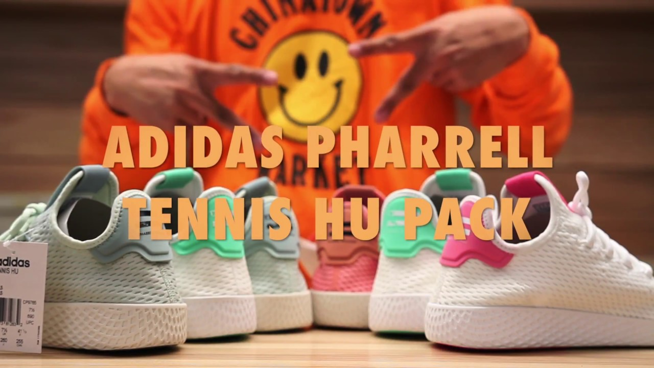 dd61abde8ae Adidas Pharrell Williams Tennis Hu Unboxing   On feet Review Video at  Exclucity