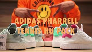 Adidas Pharrell Williams Tennis Hu Unboxing & On feet Review Video at Exclucity