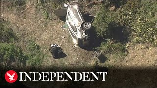 Aerial shots of Tiger Woods crash site in Los Angeles county