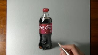 Drawing Time Lapse: Coca-Cola plastic bottle - hyperrealistic art