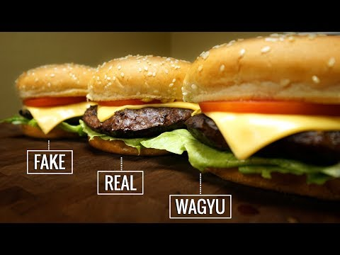 Sous Vide BURGER EXPERIMENT - Fake vs Real vs Wagyu!