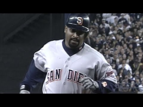 WS1998 Gm1: Vaughn homers twice off Wells in Game 1