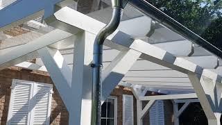 Terrassendach aus Holz mit Glas VSG Verglasung