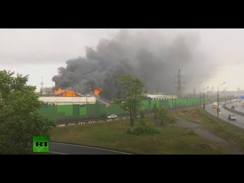 Fire erupts near power plant in Moscow region