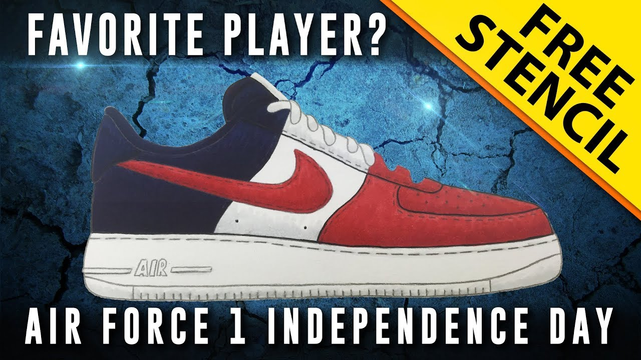 timeless design 7c29a 1059b Sneaker Art: Nike Air Force 1 Independence Day w/ FREE Stencil