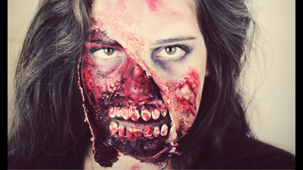 Gory Zombie Halloween Makeup Tutorial - YouTube