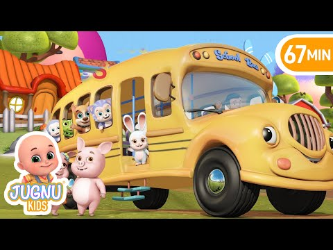 Wheels on the Bus go round and round | If You're Happy | nursery rhymes by jugnu Kids