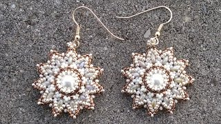 Pearl / superduo / seedbeads earrings beading tutorial