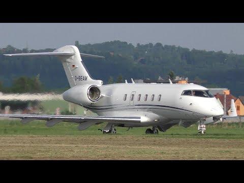 Swiss Global Jet Bombardier Challenger 300 takeoff at Graz Airport | D-BEAM