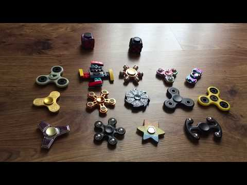 Huge Fidget Spinner Collection Review Fidget Cubes 10+ Spinners Gold Silver Lego Ninja Hydro Dipped