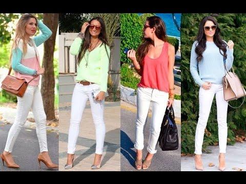 cb99080247fa5 OUTFITS CASUALES DE MODA 2015 con Pantalón Blanco para Mujer - YouTube