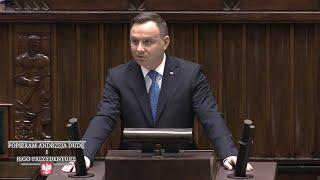 Początek IX kadencji Sejmu RP - orędzie Prezydenta Andrzeja Dudy