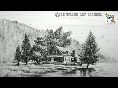 How to Draw Wooden House At Mountain Landscape Area And Lake With Pencil | Easy Pencil Strokes