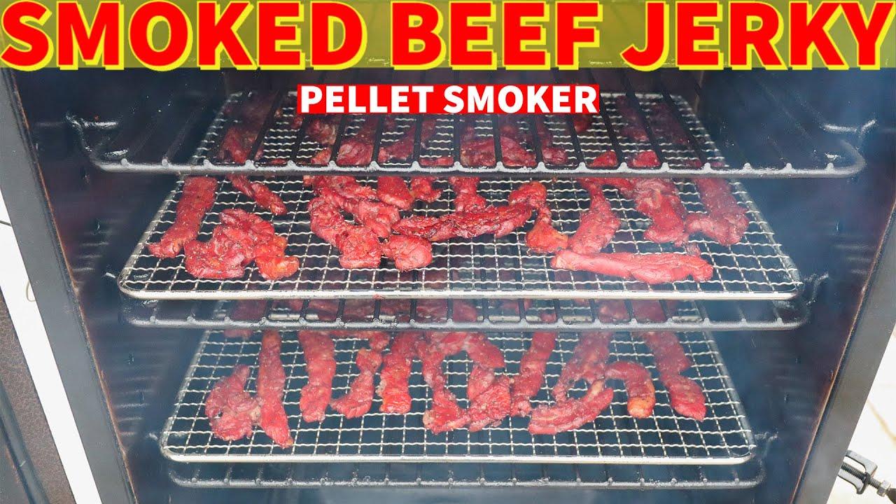 smoked beef jerky in a pellet smoker