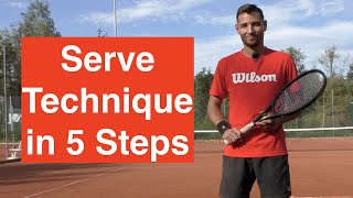 Learn the correct TENNIS Serve Technique in 5 Steps