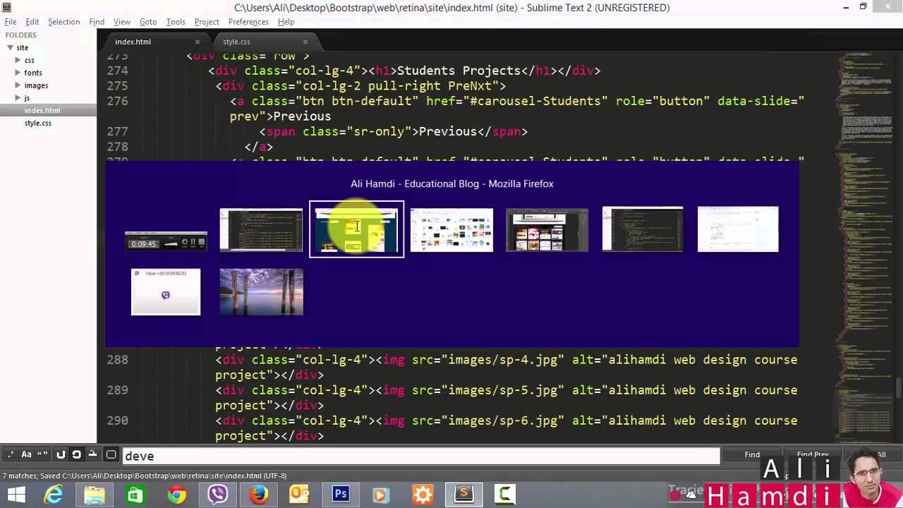 24 Bootstrap , HTML, CSS - Students Projects كتابة الكود هيدر الصفحة ...