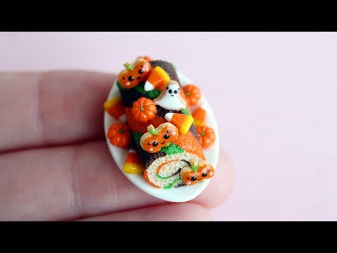 Miniature sweet roll for Halloween. Polymer clay.Tutorial. DIY.Миниатюрный рулет Хеллоуин.