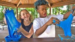 BLUE HAIR + BLUE SLIME! (Olivia Haschak &amp Chance)