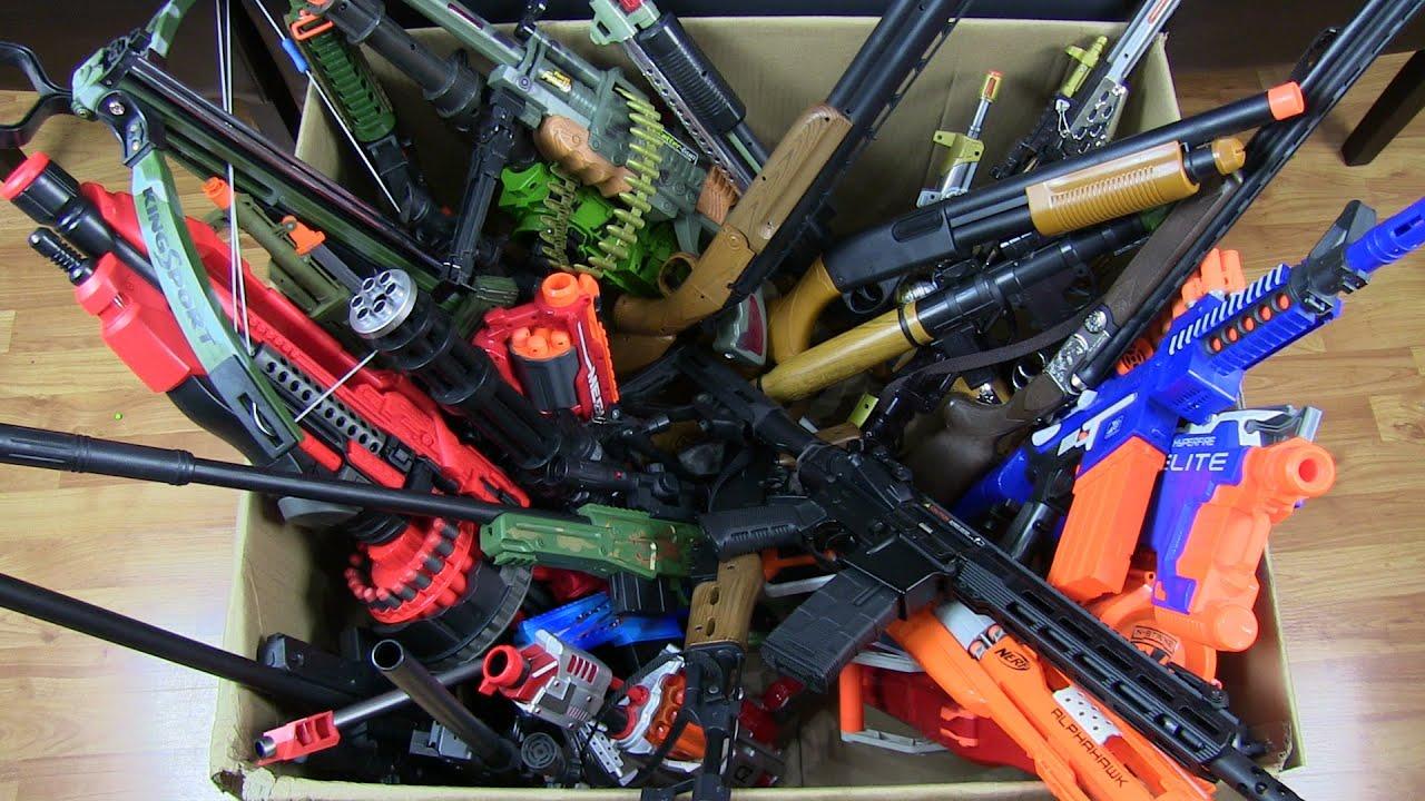 Big Box of Toy Guns ! Big Guns Military Toys & Nerf Guns