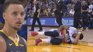 Stephen Curry Kicks Anthony Davis In The Groin! Warriors vs Pelicans