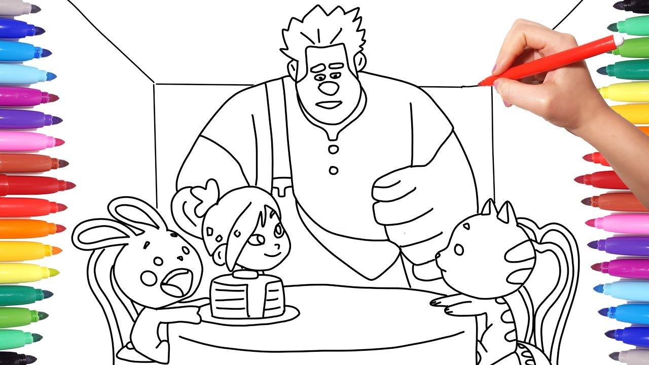 Wreck it ralph 2 ralph breaks the internet coloring pages how to draw wreck it ralph and vanellope