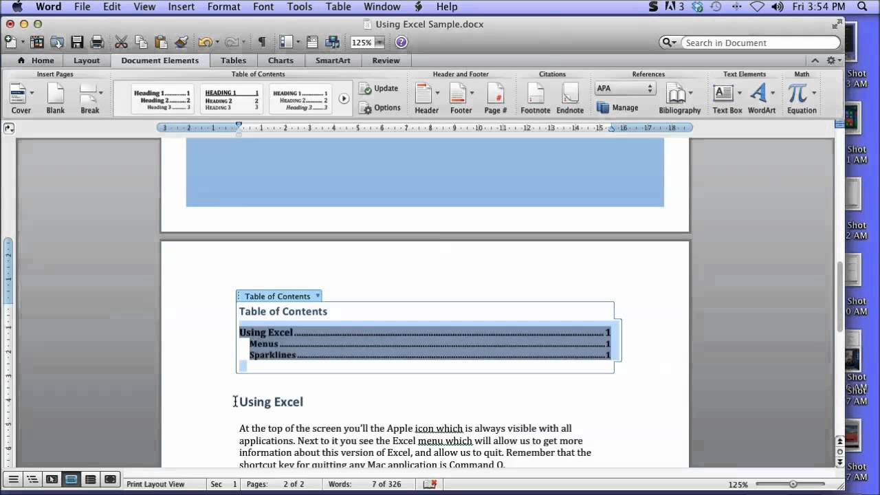 Create a table of contents in word 2011 for mac youtube ccuart Choice Image