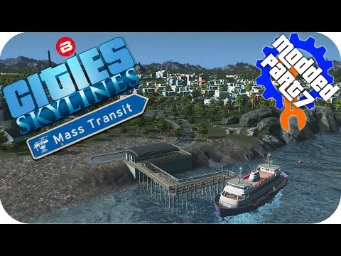 Cities Skylines Gameplay: ISLAND FERRY ROUTE! Cities: Skylines Mods MASS TRANSIT DLC Part 7