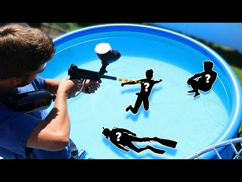 Shoot the Person Hiding in the Pool!! (HIDE AND SEEK UNDERWATER)