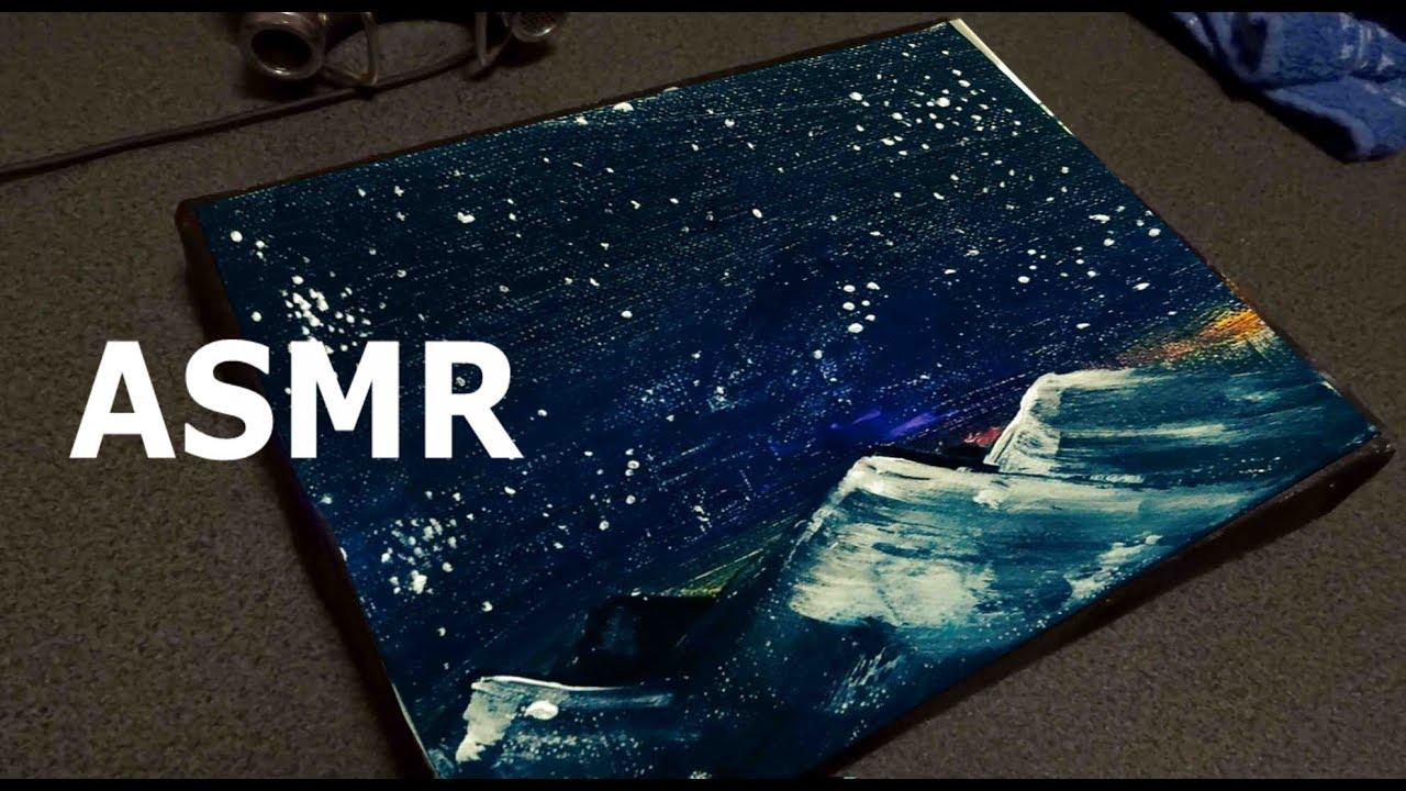 ASMR 囁き声 星を描いてみた。アクリルやナイフの音。Acryl Art painting Knife