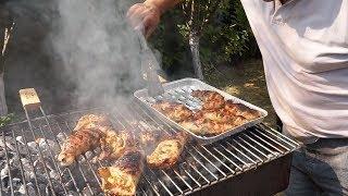 Фаршированный куриный окорок на мангале.Рецепт от Жоржа