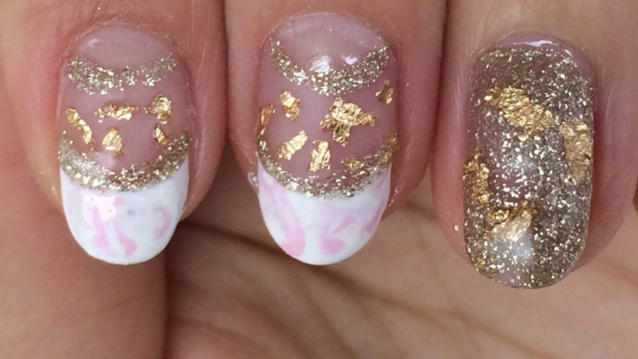 Gold Pinkshiny Matte Nail Design Marble Effect Youtube